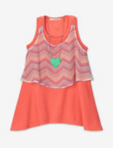 Self Esteem Neon Chevron Print Popover Tank Top – Girls 7-16