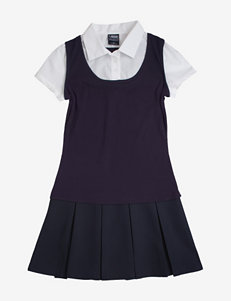 French Toast Navy Layered-look Jumper Dress – Girls 4-6x