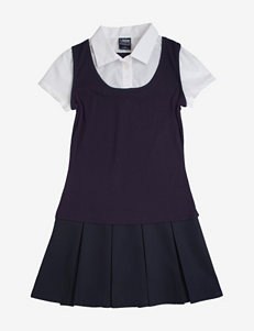 French Toast Navy Layered-Look Jumper Dress – Girls 7-14