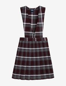 French Toast Pleated Maroon Plaid Uniform Jumper – Girls 7-16
