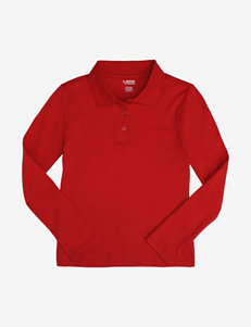 French Toast Picot Collar Long Sleeve Polo Shirt – Girls 7-20