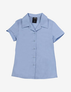 French Toast Blue Short Sleeve Point Collar Blouse – Girls 7-20