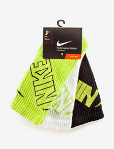 Nike® 3-pk. Lime Green & Black Graphic Crew Socks – Boys