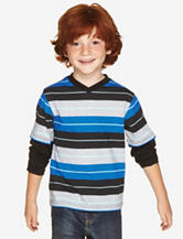 Chemistry Black & Blue Striped V-neck T-shirt – Boys 4-7