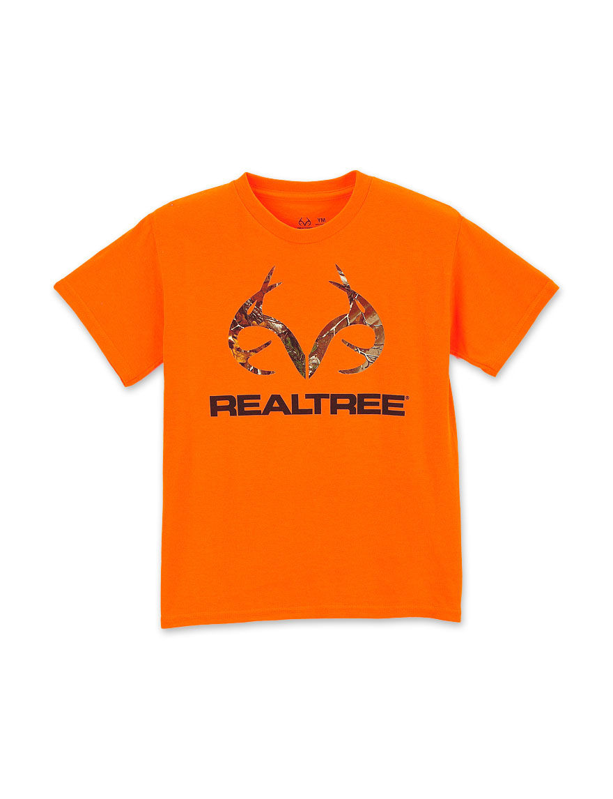 Realtree outfitters safety orange camo logo t shirt for Safety logo t shirts