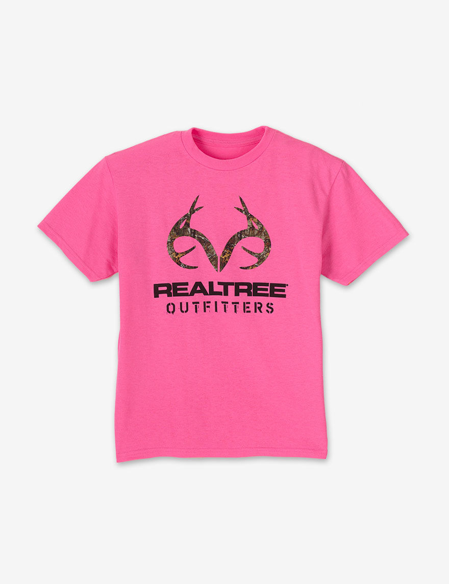 Realtree outfitters safety pink camo logo t shirt girls for Safety logo t shirts