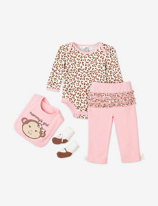Baby Gear 4-pc. Pink & Beige Monkey Animal Print Pant Set – Baby 3-12 Mos.