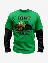 Hybrid Dirt Makes Me Cuter Layered-look Green T-shirt – Boys 4-7