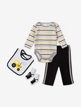 Baby Gear 4-pc. Black & Yellow Striped Tractor Bodysuit Set – Baby 0-12 Mos.
