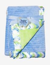 Baby Essentials Blue Chevron Plush Blanket