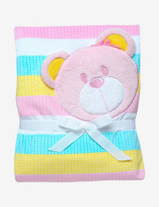 Baby Starters Pink & Yellow Striped Bear Blanket