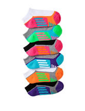 Game Sport 6-pk. Neon Striped Color Block Half Cushioned No-Show Socks – Girls