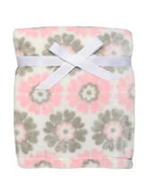 Baby Starters Pink & Grey Floral Print Fleece Blanket
