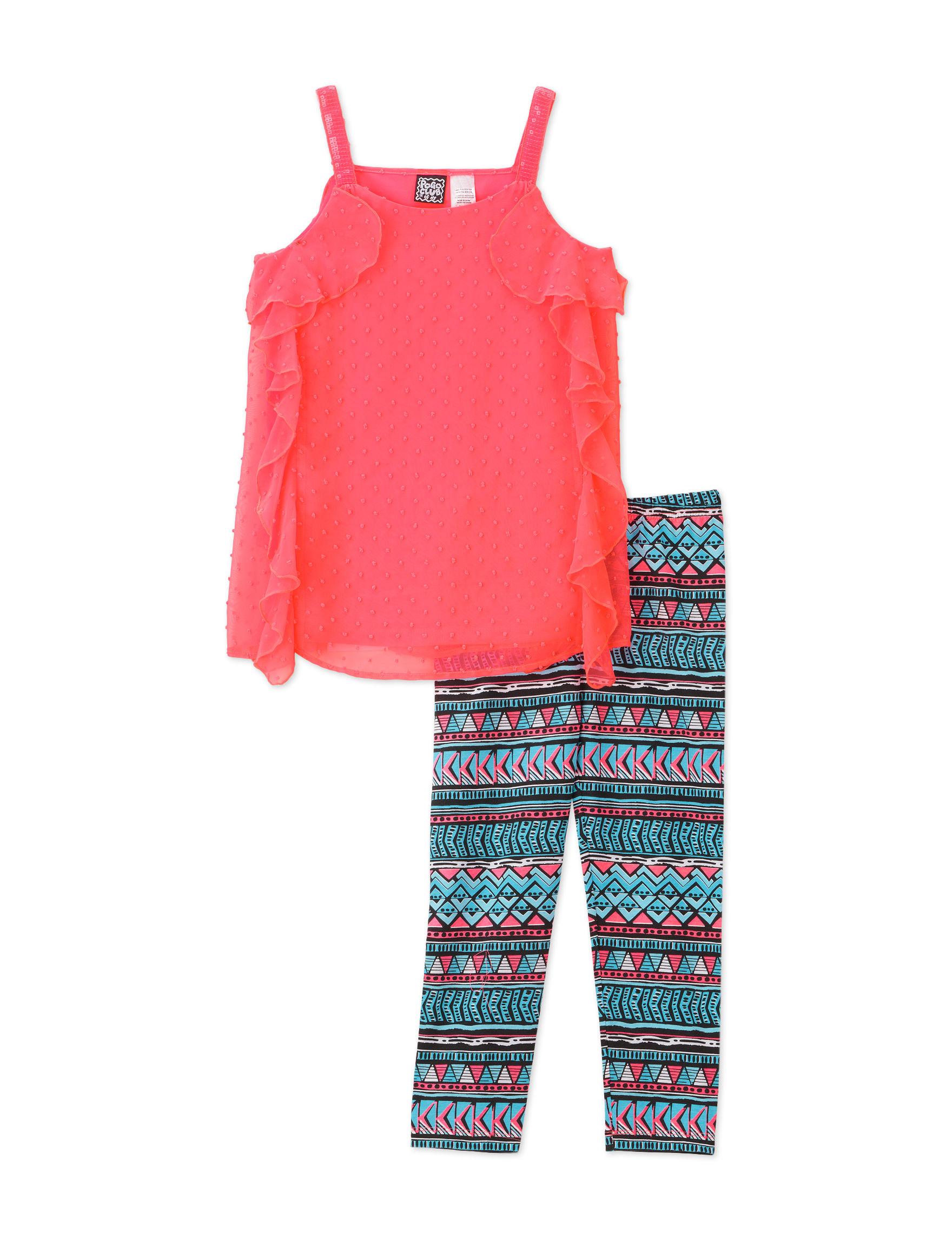 Pogo Club 2-pc. Brianna Swiss Dot Chiffon Top & Aztec Print Leggings - Girls 7-16 - Coral - S - Pogo Club coupon codes 2016