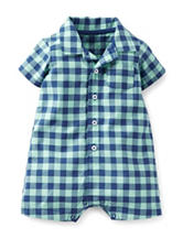 Carter's® Navy & Turquoise Checkered Romper – Baby 3-24 Mos.