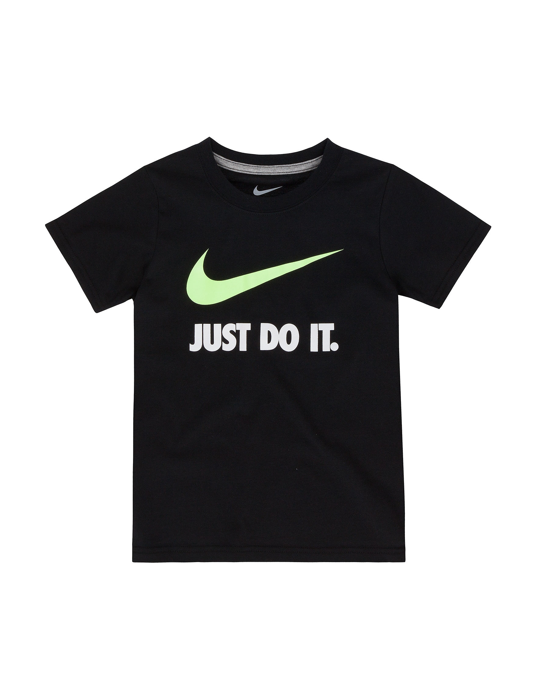 Nike black just do it t shirt boys 4 7 stage stores for Nike just do it t shirt women s