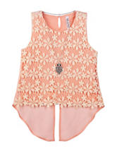 Beautees Daisy Crochet Hi-Lo Top – Girls 7-16