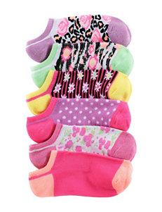 Capelli 6-pk. Metallic Floral No-Show Socks – Girls
