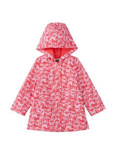 OshKosh B'gosh Coral & White Butterfly Print Raincoat – Toddler Girls