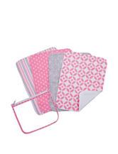 Trend Lab Lily 4-pk. Burp Cloth Zip Pouch Set