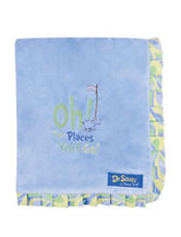 Dr. Seuss Blue Oh, The Places You'll Go! Ruffle Trimmed Receiving Blanket by Trend Lab