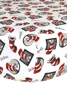 Dr. Seuss The Cat in the Hat Flannel Crib Sheet by Trend Lab