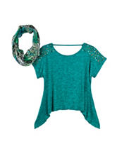 Beautees Emerald with Stud Accents Top – Girls 7-16