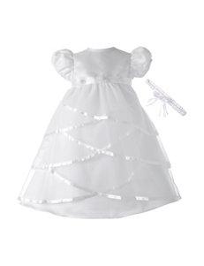 Lauren Madison Christening Baptism Sheer Over Taffeta Circle Skirt Dress