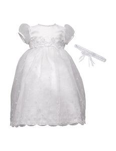 Lauren Madison Christening Baptism Organza Over Bridal Satin Dress Gown