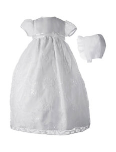 Lauren Madison Christening Baptism Organza Sequin Embroidered Dress Gown - Baby 0-12 Mos.