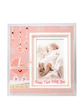 Lauren Madison Girls Baptism Painted 3D Bless This Baby Picture Frame