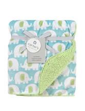 Carter's® Aqua Elephant Print Plush Blanket