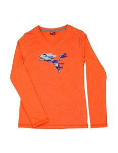 Puma® Orange Color Streaked Logo T-Shirt – Girls 4-6x
