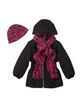Pink Platinum Solid color Black Puffer Jacket – Girls 4-6x