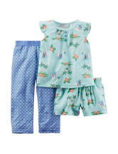 Carter's® 3-pc. Multicolor Tropical Print Pajama Set – Toddler Girls
