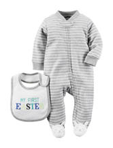 Carter's® 2-pc. Gray 1st Easter Footed Sleep & Play –Baby 0-9 Mos.