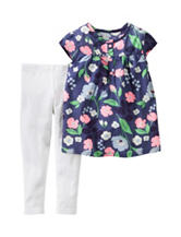 Carter's® 2-pc. Floral Top & Solid White Leggings Set - Baby 3-24 Mos.