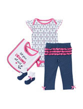 Cutie Pie 4-pc. Nautical Pant Set – Baby 3-6 Mos.