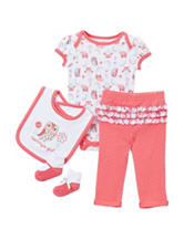 Cutie Pie 4-pc. Multicolored Pink & Aqua Owl Pant Set– Baby 3-9 Mos.