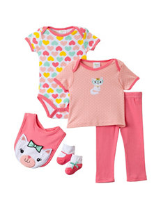 Baby Gear 5-pc. Coral Cat Face Layette Set – Baby 0-9 Mos.