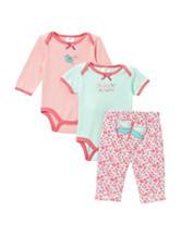 Cutie Pie 3-pc. Dragonfly Appliqué Pant Set – Baby 3-9 Mos.