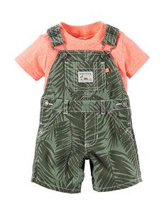 Carter's 2-pc. Leaf Print Shortalls & Shirt Set - Baby 0-12 Mos.