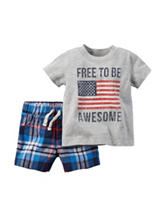 Carter's® 2-pc. Free to be Awesome Shirt & Shorts Set - Baby 0-12 Mos.