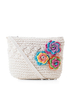 Capelli Ivory Floral Crochet Crossbody Handbag