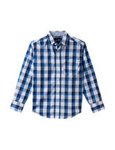 Nautica Blue & White Plaid Woven Shirt – Boys 8-20