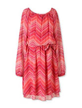 Speechless Multicolor Chevron Chiffon Dress – Girls 7-16