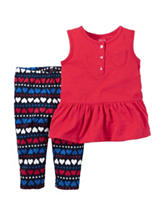Carter's® 2-pc. Red Top & Heart Print Leggings - Baby 0-12 Mos.