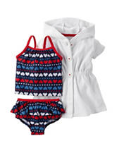 Carters® 3-pc. Heart Print Swimsuit & Cover-Up Set - Baby 0-12 Mos.
