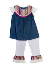 Rare Editions 2-pc. Aztec Ruffle Pant Set – Toddler Girls