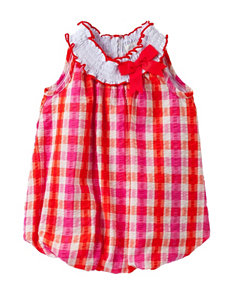 Rare Editions Multicolor Gingham Print Bubble Romper – Baby 0-12 Mos.